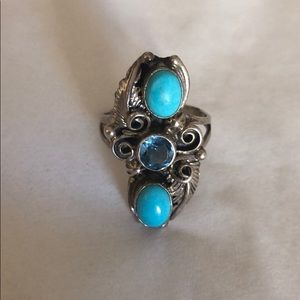 Turquoise Women's Ring Silver Navajo - 925 tests